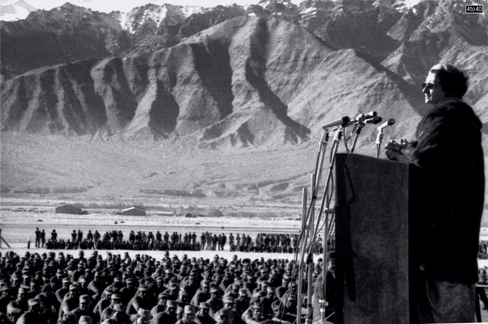 Indira Gandhi addressing Army jawans at Galwan Valley