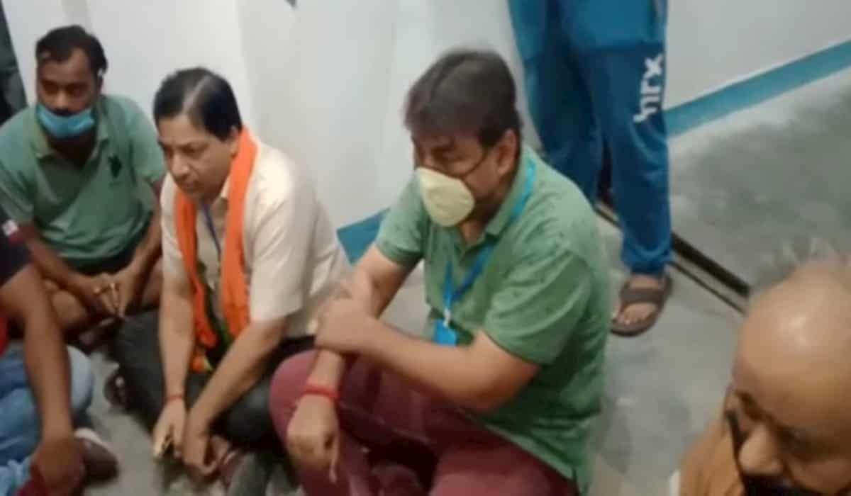 Unnao BJP Mla Sits protest against UP Police