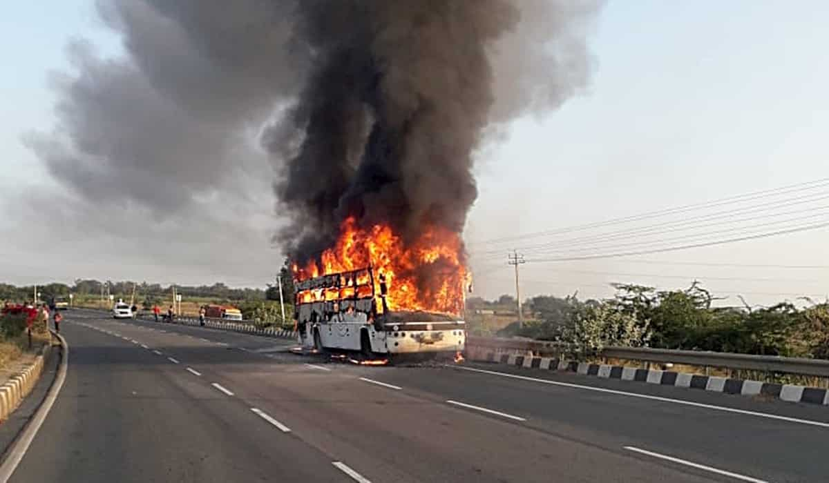 Bengaluru Based Bus Catches Fire, 5 Burns Alive
