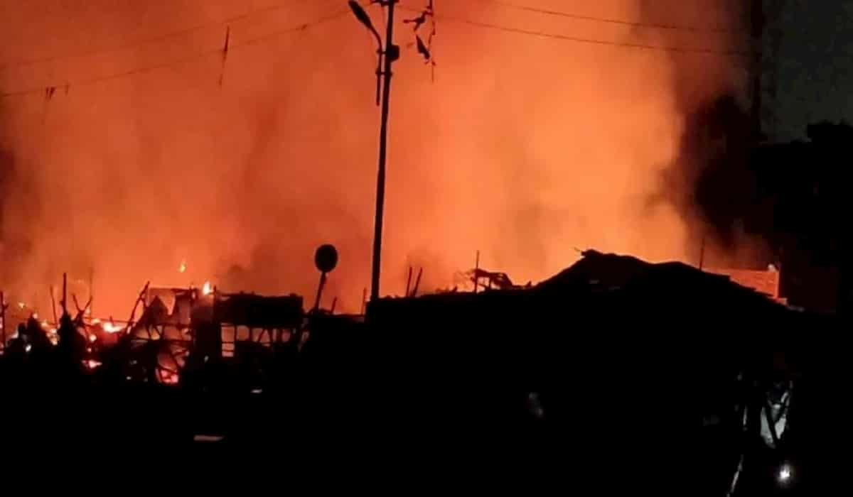 Fire Breaks Out At Lucknow's Aishbagh Dhobi Ghat