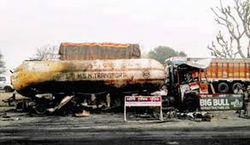 Truck Catches Fire After it Falls Down from Flyover at Jaipur Highway